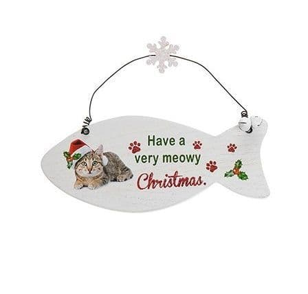 Santa Paws Fish Plaque Cat - have a very meowy christmass
